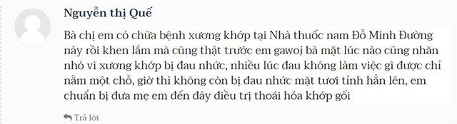 Phản hồi của chị Nguyễn Thị Quế